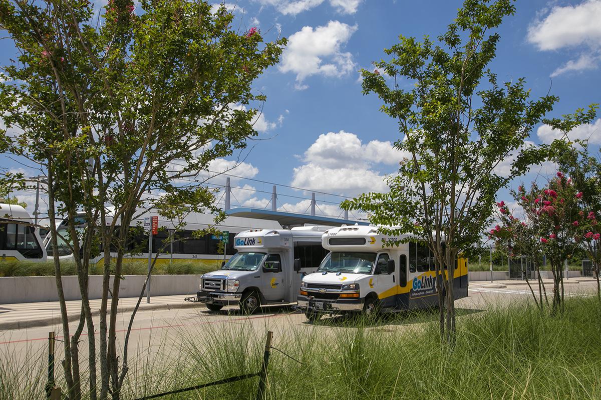 GoLink vehicles at UNT Dallas Station