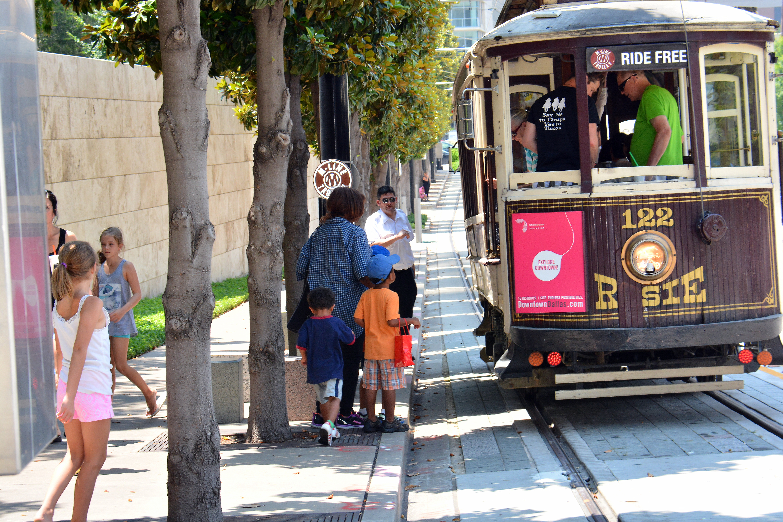 M-Line Trolley in the Dallas Arts District