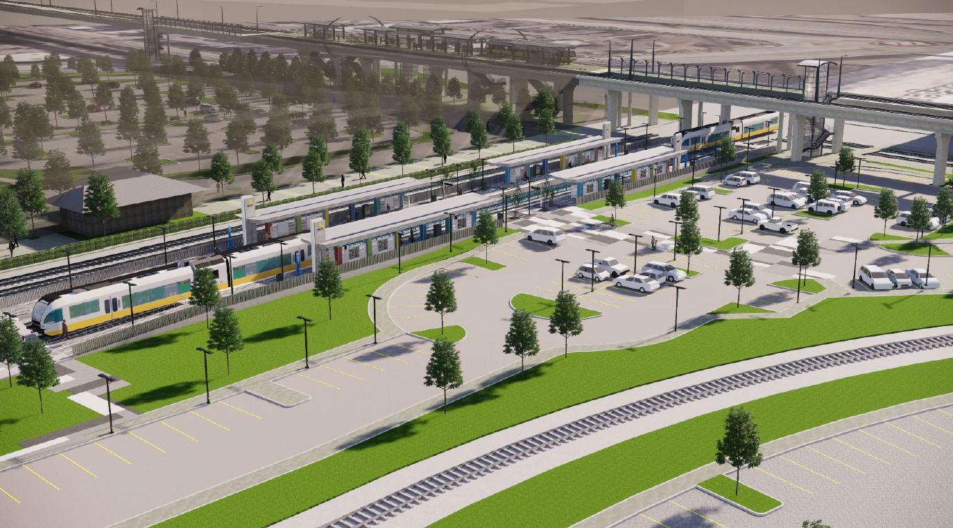 Downtown Carrollton Station DART Silver Line rendering