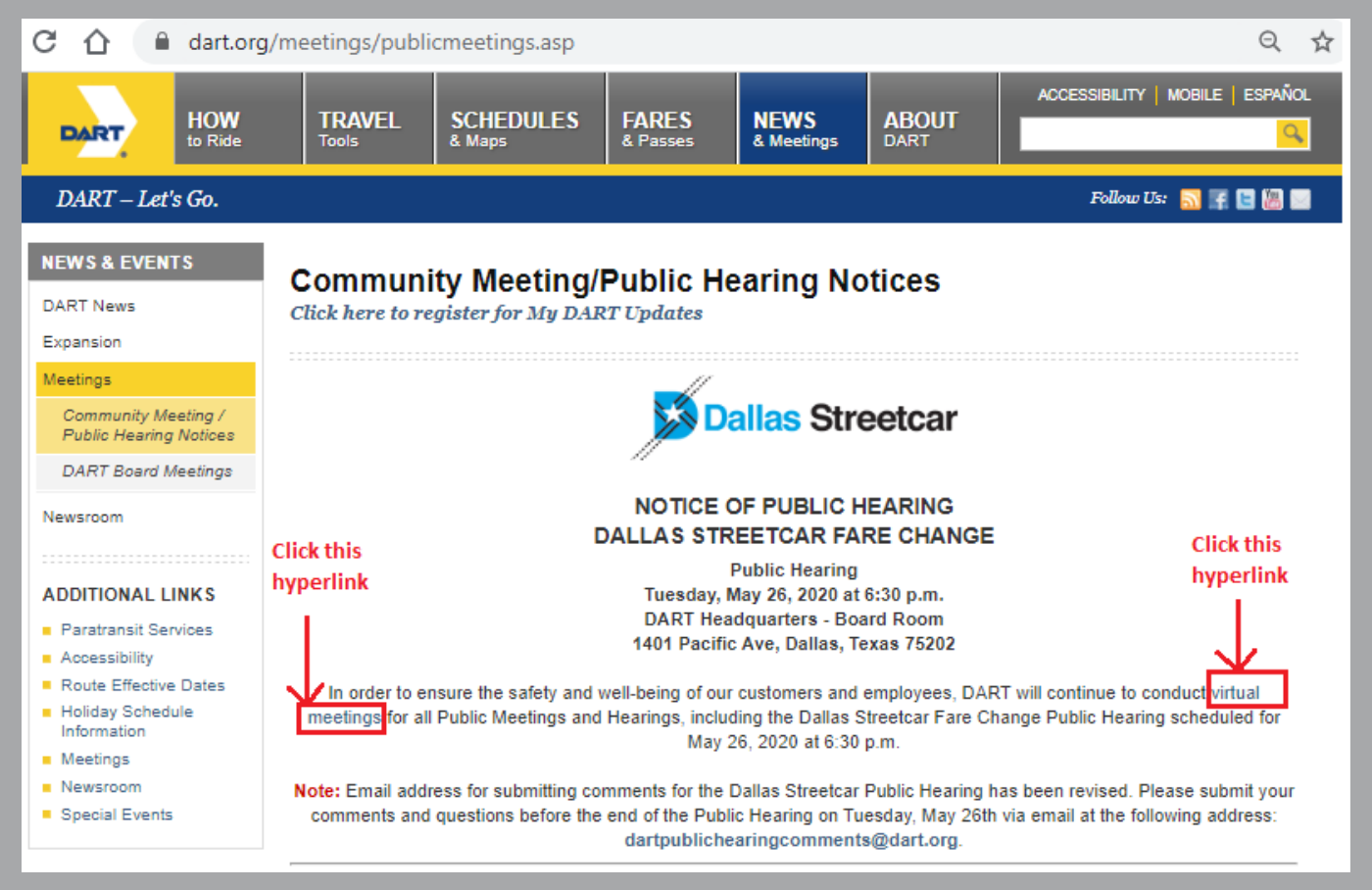 DART Public Meetings Page