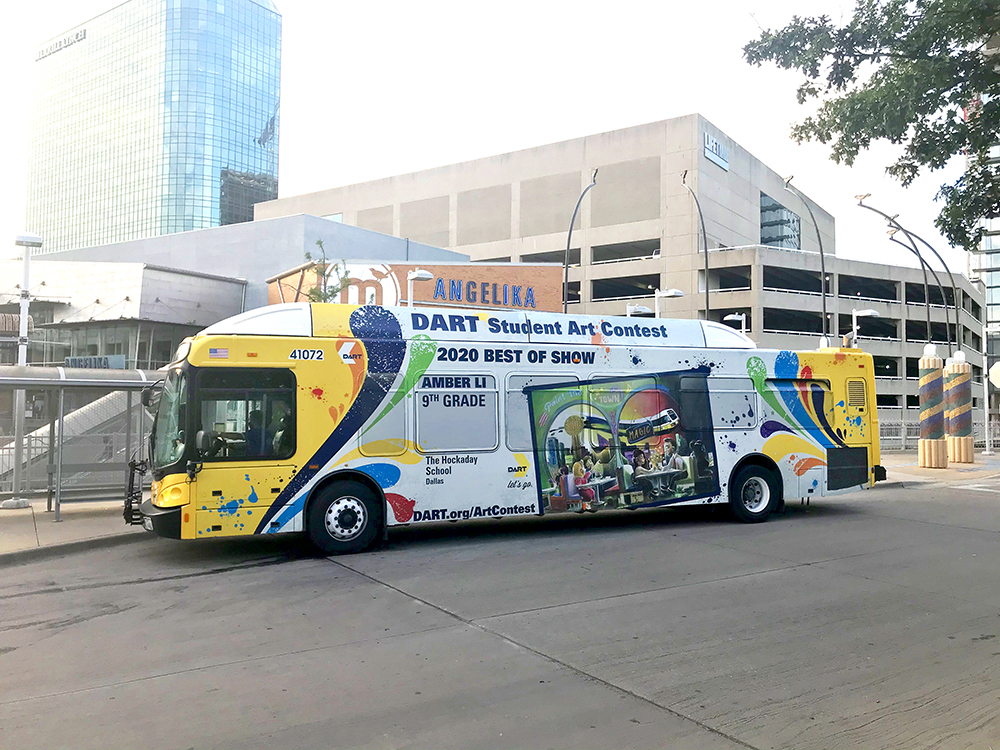 Student Amber Li, from the Hockaday School in Dallas, won the 2020 DART Student Art Contest best in show prize. As part of her prize, a DART bus displays her artwork on its exterior as it travels across the agency's 13-city service area.