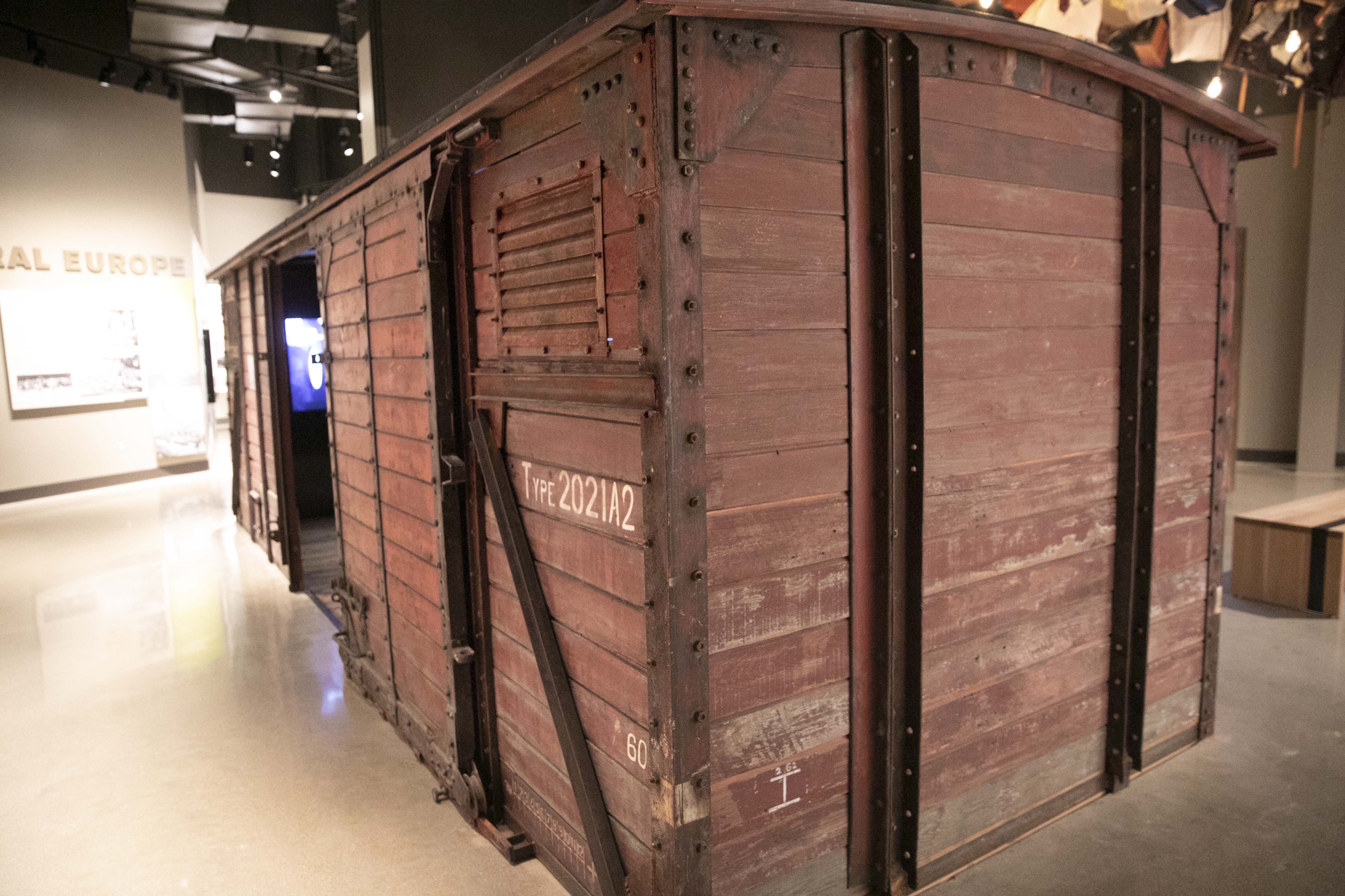 The fist boxcar exhibited in a Holocaust museum anywhere in the world sits inside the permanent exhibition at the Dallas Holocaust and Human Rights Museum January 22, 2020.