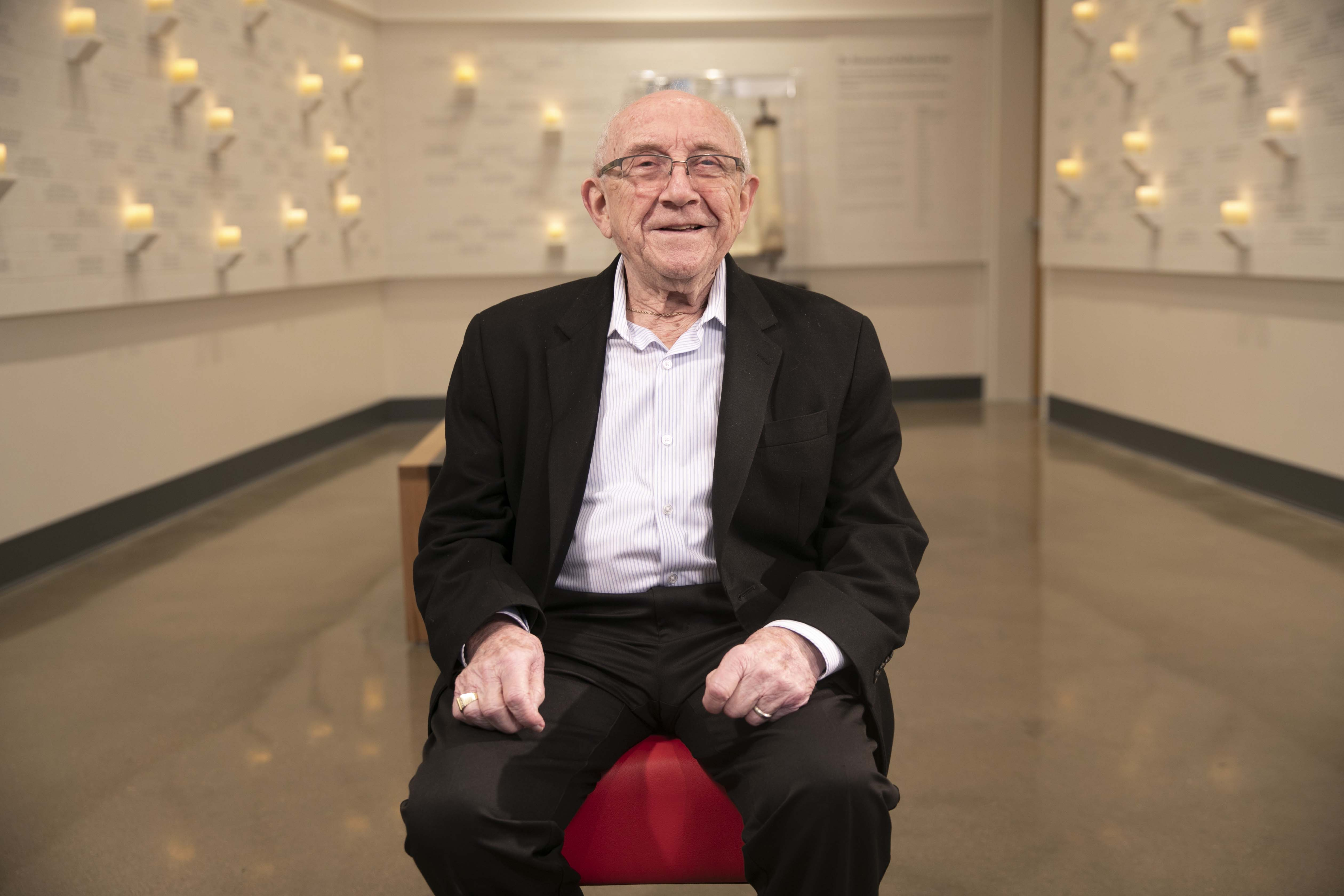 Holocaust survivor, Max Glauben, sits inside the Dallas Holocaust and Human Rights Museum January 22, 2020.