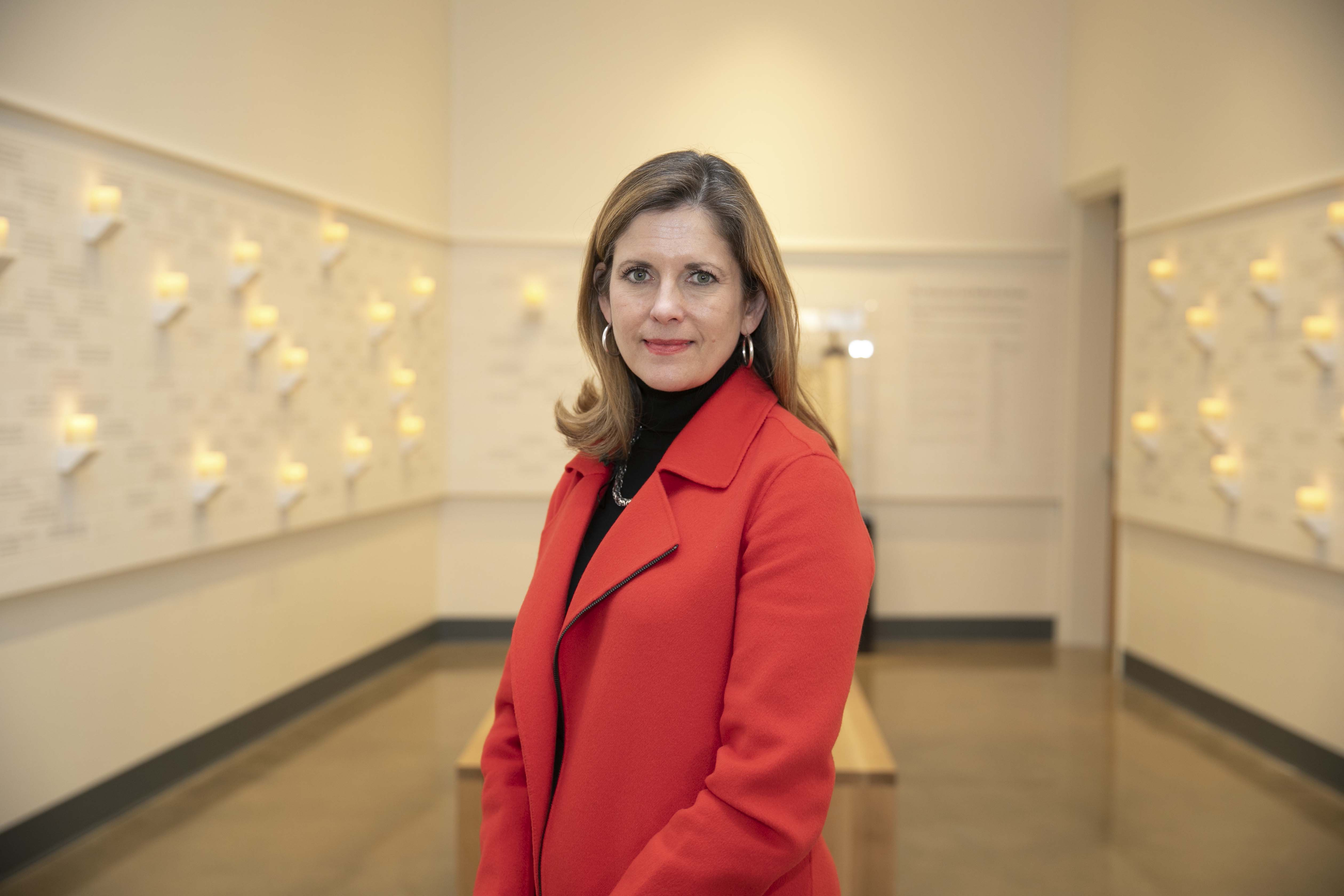 Mary Pat Higgins, President and CEO of the Dallas Holocaust and Human Rights Museum stands at the museum January 22, 2020.