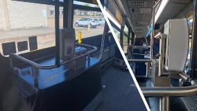 Sanitizer dispensers on DART bus.