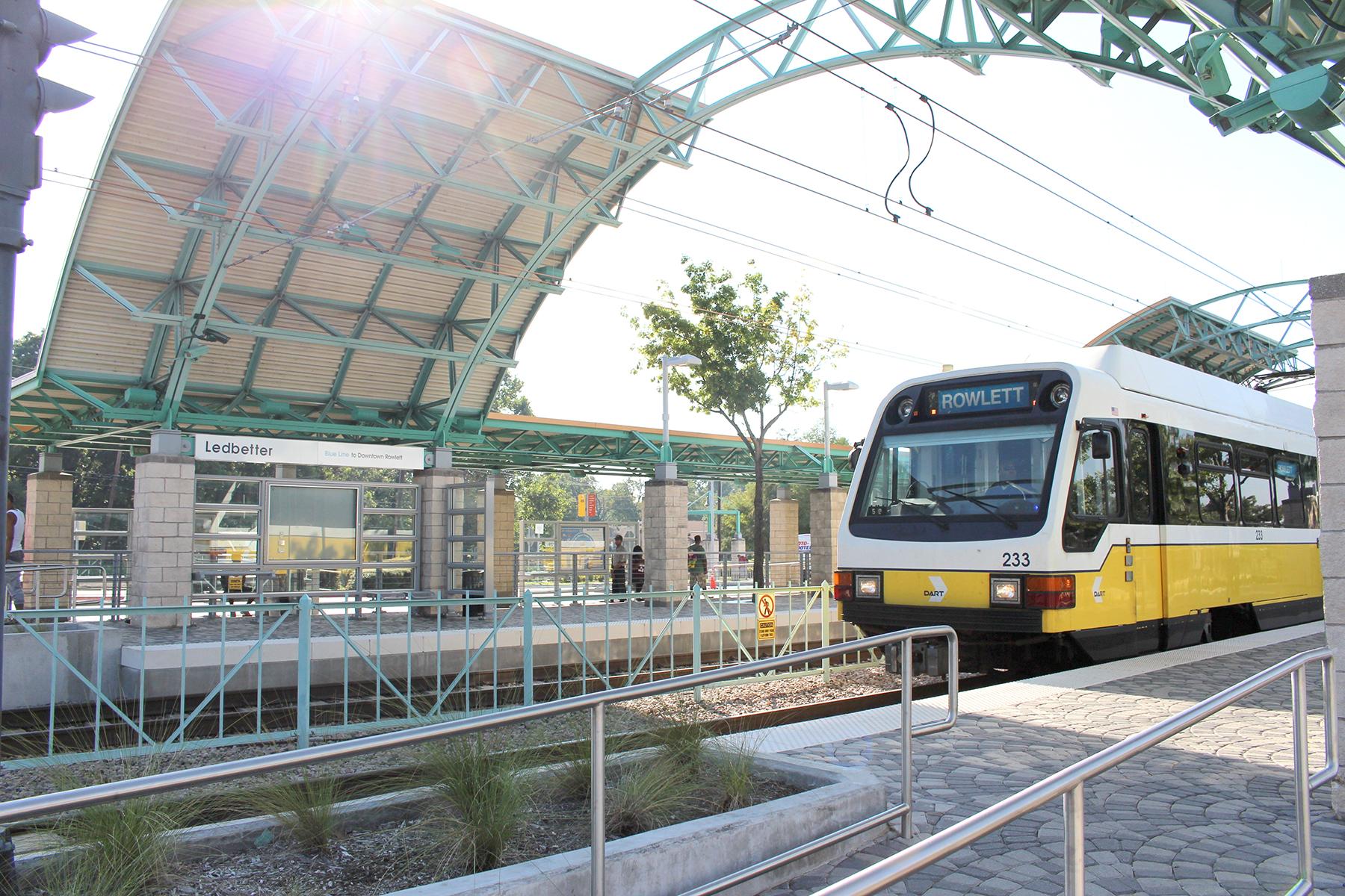 A Blue Line train arrives at DART's Ledbetter Station Friday, Oct. 21, 2016.