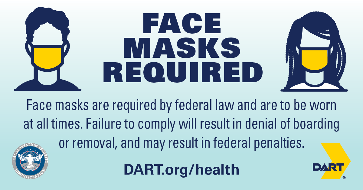 DART Continues Requirement for Face Masks on Public Transit
