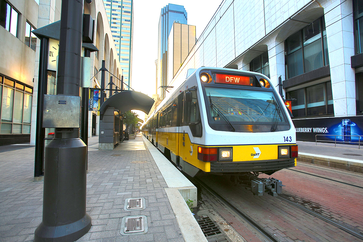 A DART Orange Line train stops at Akard Station in Dallas.