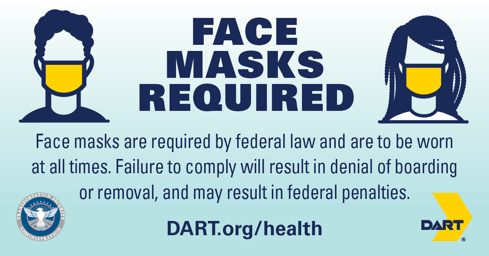 Face masks required by federal law image