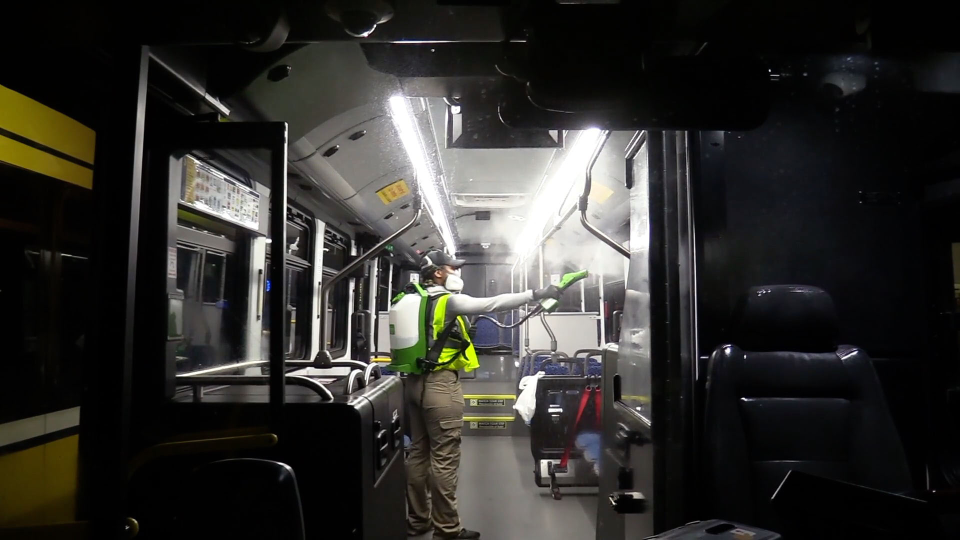 Hydrogen peroxide fogger used to disinfect DART bus