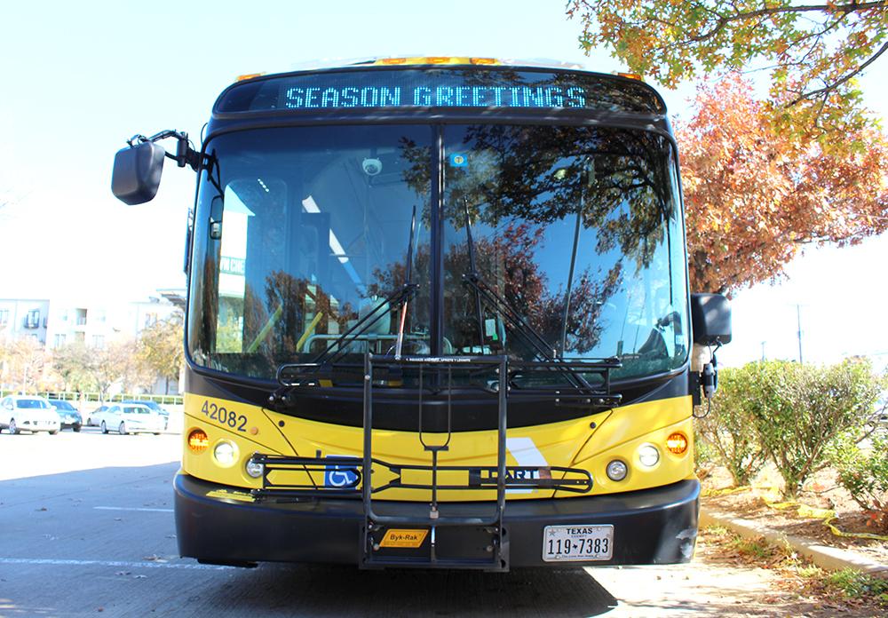 A DART bus sits parked at the SMU/Mockingbird Station parking lot during DART's Stuff a Bus event Dec. 4, 2020.