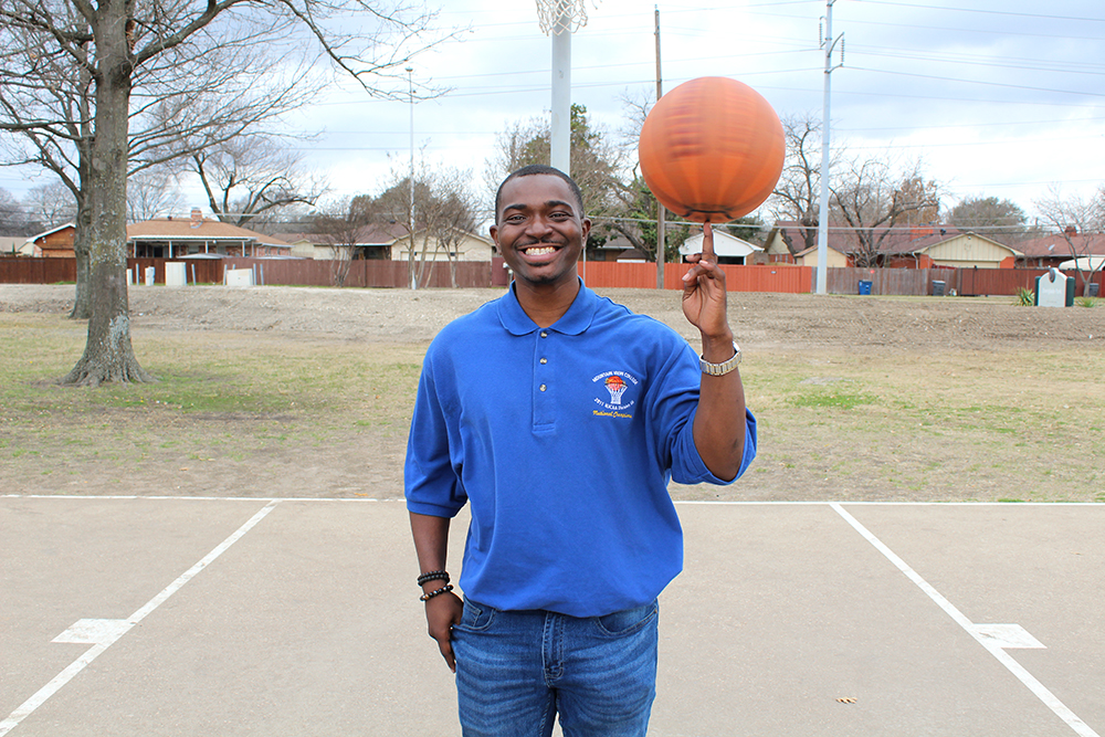 Dallas native, Dwayne Morgan, spins a basketball on his finger Tuesday, March 9, 2021 at Everglade Park in Dallas. Morgan rode DART as a student attending Mountain View College in Dallas.