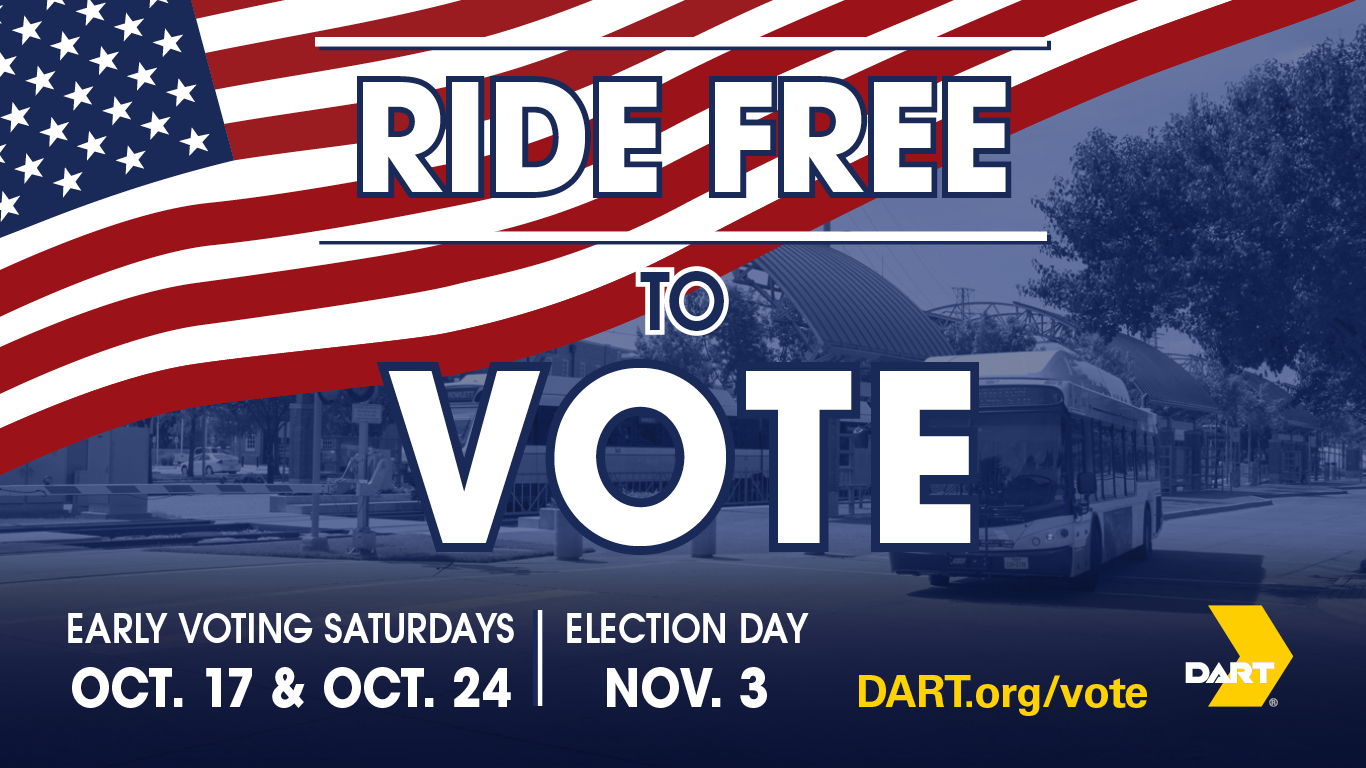 Ride DART free to vote in the 2020 general election.
