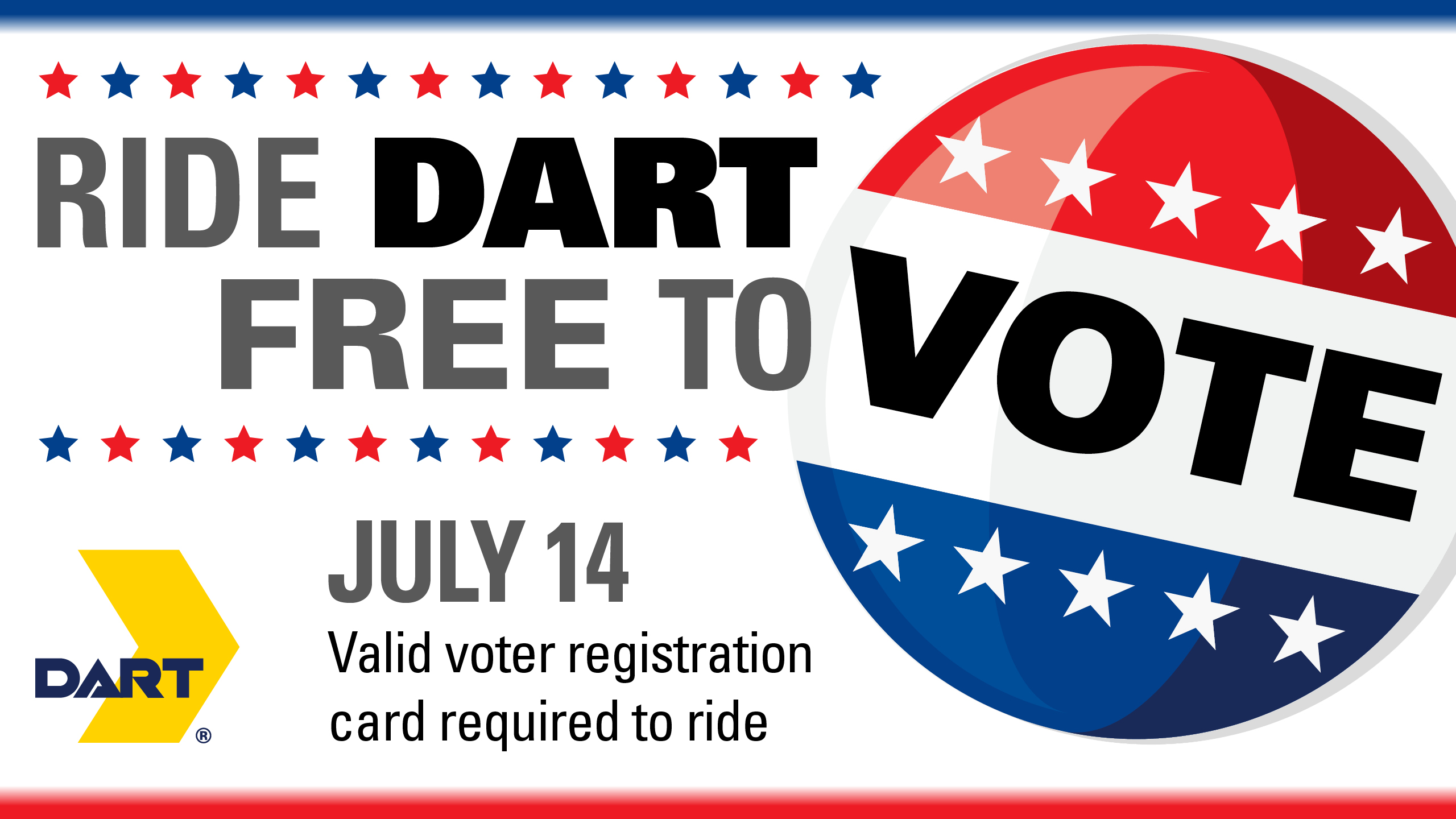 Ride DART Free to Vote Today on Election Day, July 14