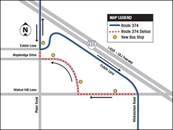Route 374 westbound stops will move due to I-635 construction.