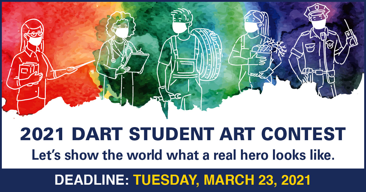 DART is asking North Texas young artists to share their heroes by participating in the 2021 DART Student Art Contest.